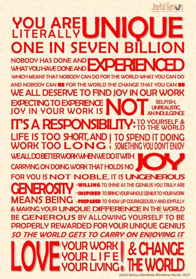 Joyful Genius Manifesto